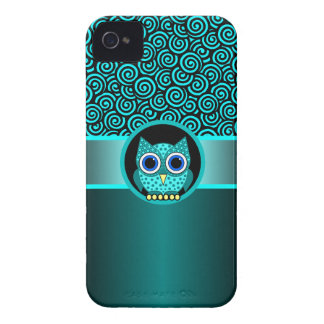 turquoise swirls pattern with owl iPhone 4 cover