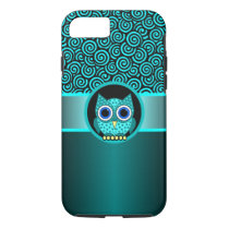 turquoise swirls pattern with owl iPhone 8/7 case