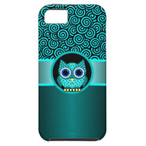 turquoise swirls pattern with owl iPhone SE/5/5s case