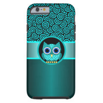 turquoise swirls pattern with owl tough iPhone 6 case