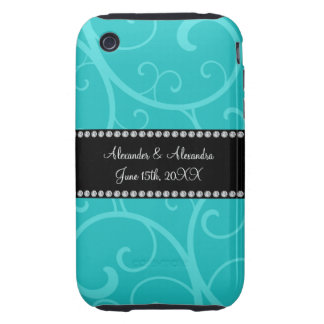 Turquoise swirls wedding favors tough iPhone 3 cases