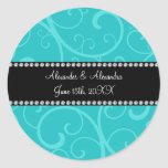 Turquoise swirls wedding favors round stickers