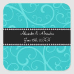 Turquoise swirls wedding favors stickers