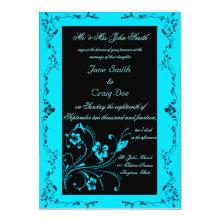 Turquoise Swirls Wedding Invitations