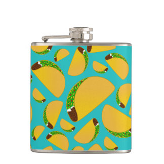 Turquoise tacos hip flasks