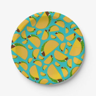 Turquoise tacos paper plate