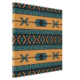 Turquoise  Tan Aztec Pattern Southwest Wall Art