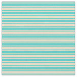 [ Thumbnail: Turquoise & Tan Colored Lined/Striped Pattern Fabric ]