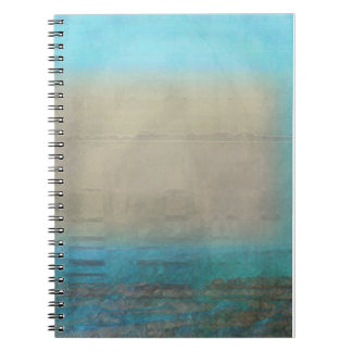 Turquoise & Tan Ocean Abstract Spiral Notebook