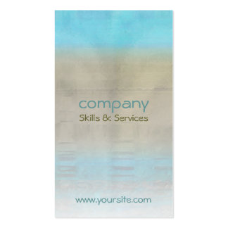 Turquoise & Tan Ocean Abstract, White Blend, co... Business Card