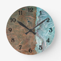 Turquoise Tan Vintage Wallpaper Abstract Round Clock