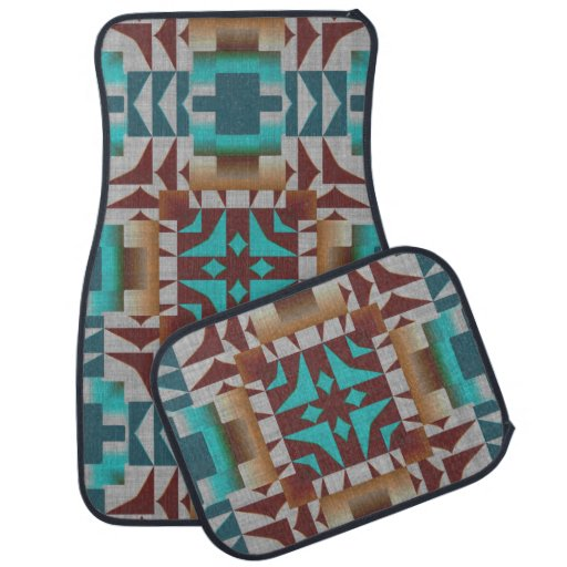 Turquoise Teal American Indian Mosaic Pattern Car Mat Zazzle