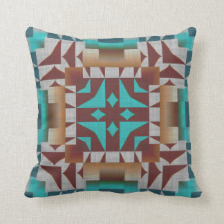 Turquoise Teal American Indian Mosaic Pattern Throw Pillow