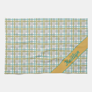 Turquoise teal and yellow tartan pattern with name towels