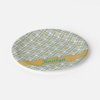Turquoise teal and yellow tartan pattern with name paper plate