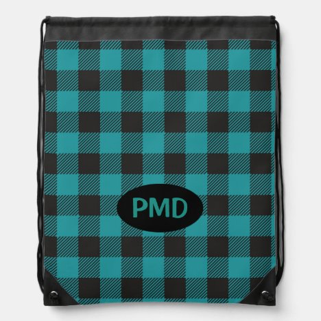 Turquoise Teal Blue Black Buffalo Plaid Monogram Drawstring Bag
