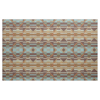 Turquoise Teal Blue Green Orange Brown Ethnic Look Fabric