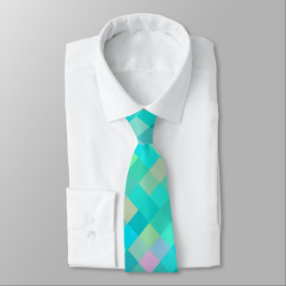 Turquoise Teal Blue Green Pink Yellow Pattern Tie