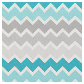 Turquoise Teal Blue Grey Gray Ombre Chevron Fabric
