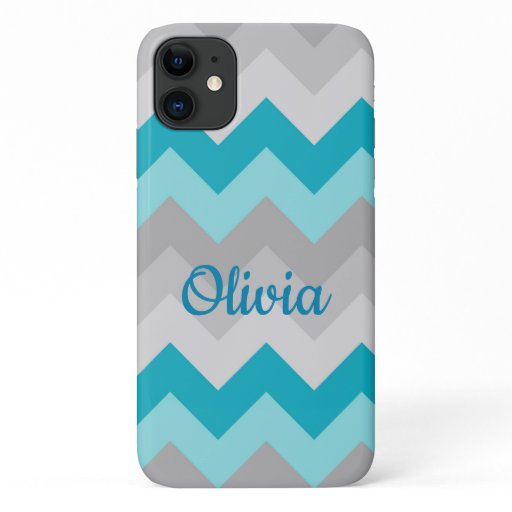 Turquoise Teal Blue Grey Gray Ombre Chevron Girl iPhone 11 Case
