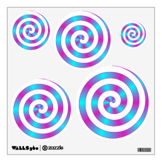Turquoise Teal Blue Hot Pink Spiral Swirl Girl Wall Sticker