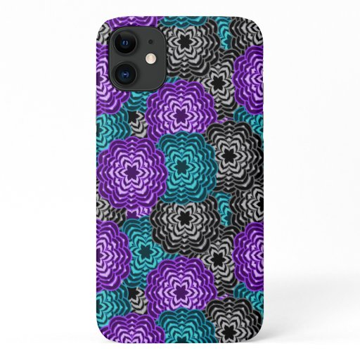 Turquoise Teal Blue Lavender Purple Grey Floral iPhone 11 Case
