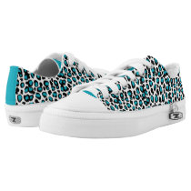 Turquoise Teal Blue Leopard Animal Print Low-Top Sneakers