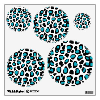 Turquoise Teal Blue Leopard Animal Print Wall Decal
