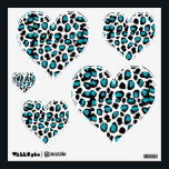 """Turquoise Teal Blue Leopard Animal Print Wall Sticker<br><div class=""""desc"""">Turquoise Teal Blue Leopard Animal Print Heart wall decal for teen girls room decor.</div>"""