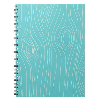 Turquoise, Teal Blue, Wood Grain Notebooks