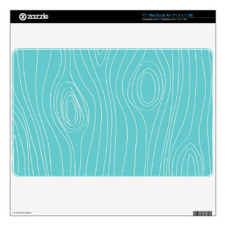 Turquoise, Teal Blue, Wood Grain Skins For The MacBook