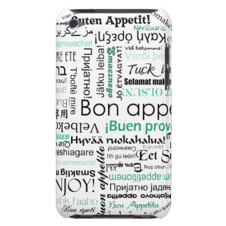 Turquoise Teal Bon appetit in different languages Barely There iPod Cover