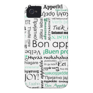 Turquoise Teal Bon appetit in other languages Case-Mate iPhone 4 Case
