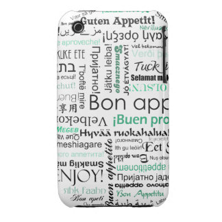 Turquoise Teal Bon appetit in other languages iPhone 3 Case-Mate Case