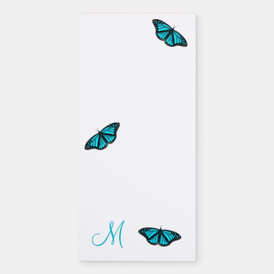 turquoise teal butterflies monogrammed magnetic notepad