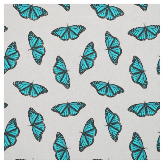 Turquoise teal butterflies pattern ANY color bkgrd Fabric