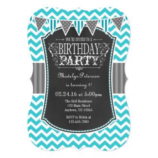 Turquoise Teal Chalkboard Chevron Birthday Invite