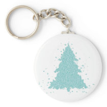 Turquoise Teal Christmas Tree Modern Holiday Style Keychain