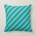 [ Thumbnail: Turquoise & Teal Colored Lined/Striped Pattern Throw Pillow ]