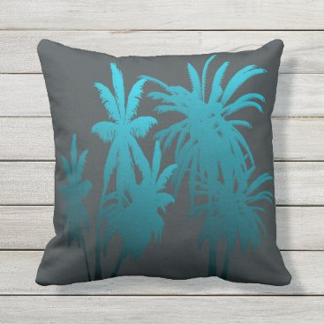 Beach Themed Turquoise Teal Fade Palm Trees Tropical Sunset Throw Pillow