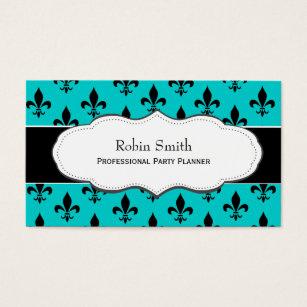 Fleur de lis business cards templates zazzle turquoise teal fleur de lis business cards colourmoves