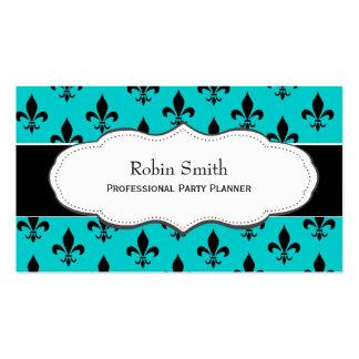 Turquoise / Teal Fleur de Lis business cards