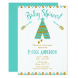 Turquoise Teal & Gold Tepee Modern Baby Shower Card