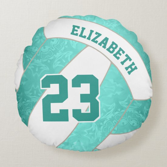 turquoise teal gradient artsy girls volleyball round pillow