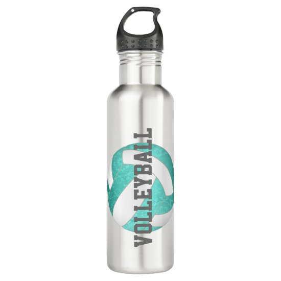 turquoise teal gradient artsy girls volleyball stainless steel water bottle