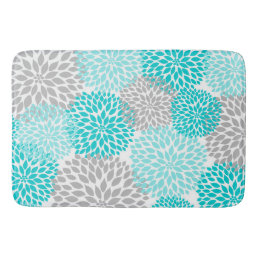 Turquoise Teal Gray Bathroom shower decor Bathroom Mat