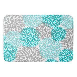 Turquoise Teal Gray Bathroom Shower Decor Mat