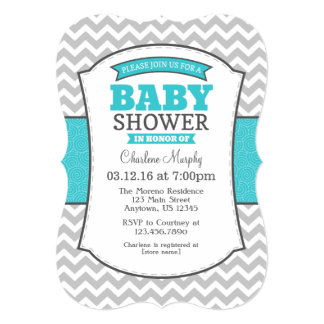 Turquoise Teal Gray Chevron Baby Shower Invitation