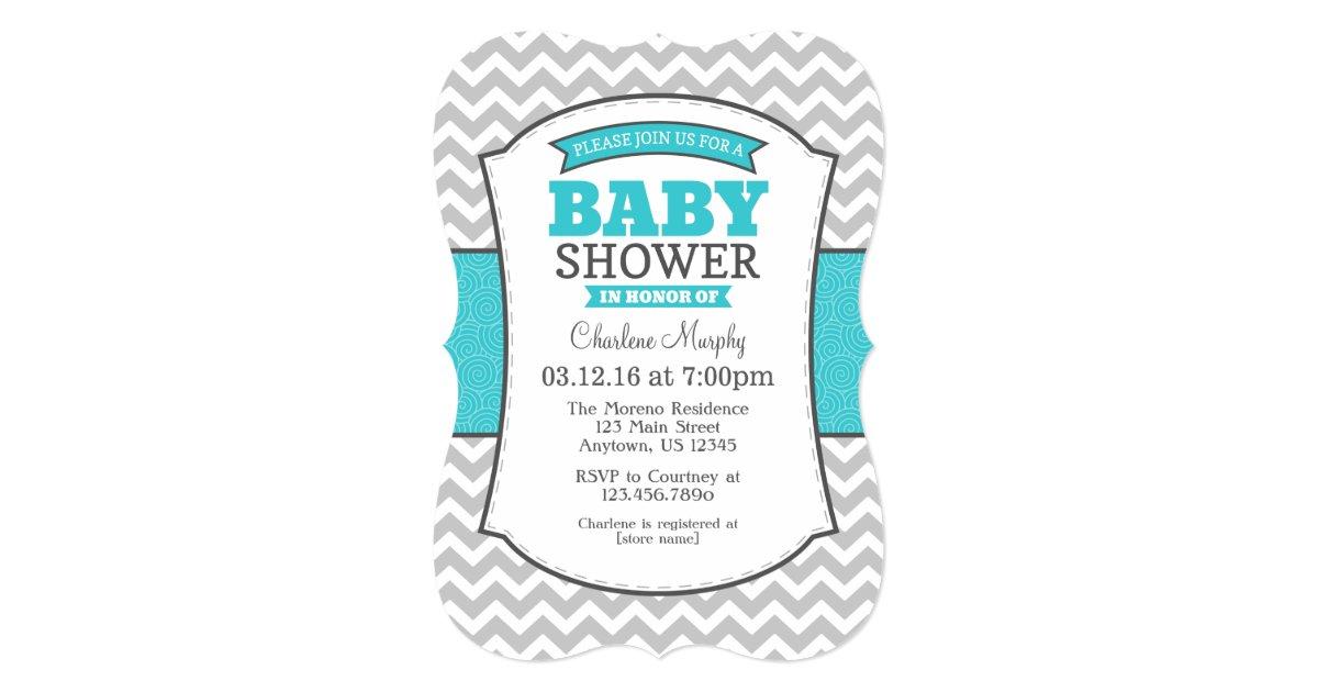 turquoise teal gray chevron baby shower invitation zazzle