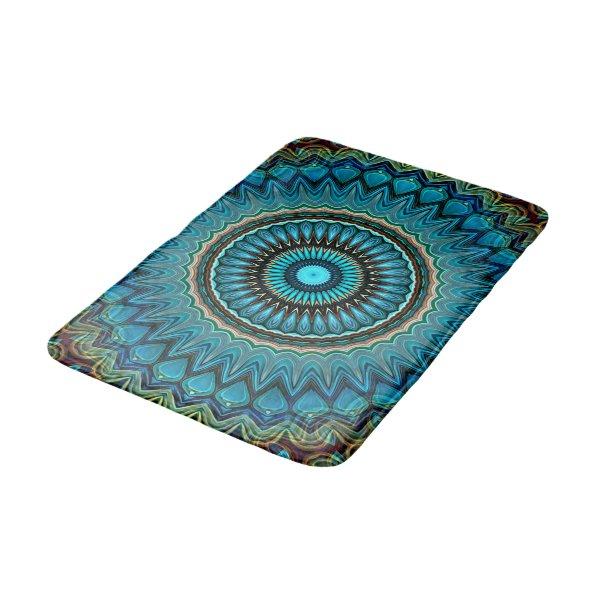 Turquoise Teal Green Mandala Round Star Pattern Bath Mat